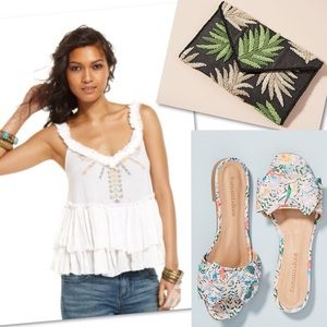 Free People Tops - FREE PEOPLE TIERED EMBROIDERED TANK SHIRT SZ L